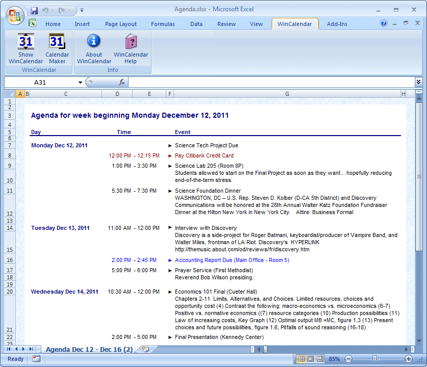 excel calendar schedule