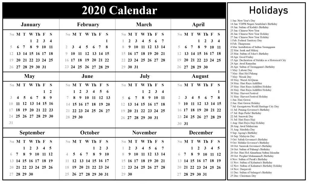 Free Printable Malaysia Calendar 2020 {PDF, Excel & Word