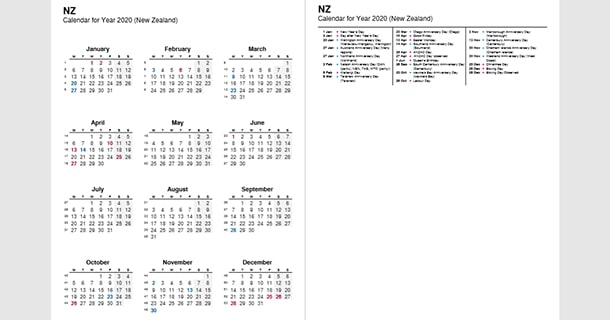 2020 Full Year Calendar with New Zealand Holidays