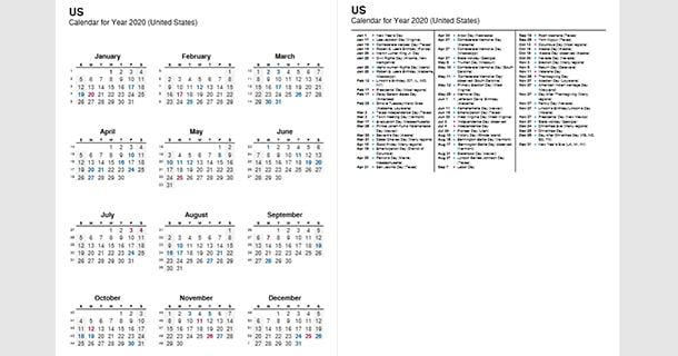 2020 Full Year Calendar with US Holidays