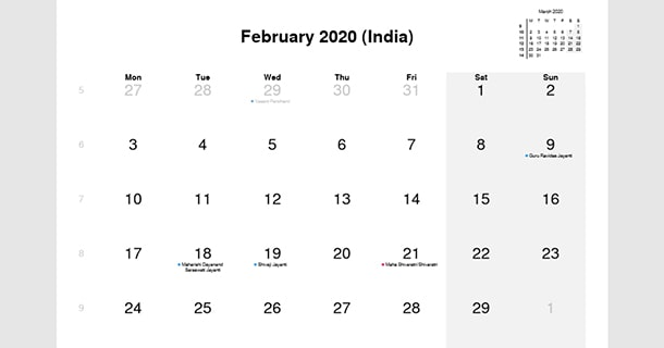 February 2020 Calendar with India Holidays
