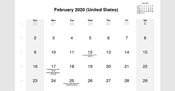 February 2020 Calendar Daily Quotes For Each Day February 2020 Calendar with US Holidays – 2019 Calendar