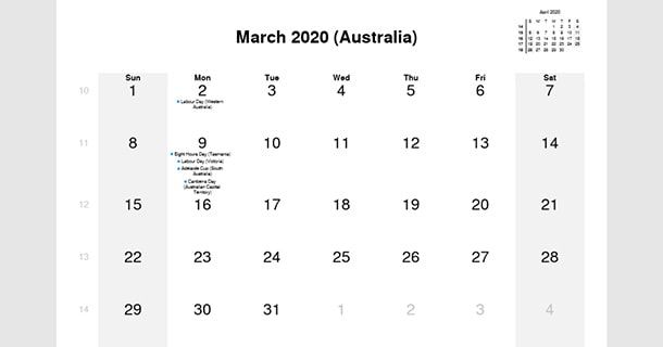 March 2020 Calendar with Australia Holidays