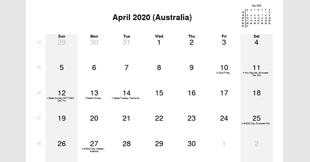 April 2020 Calendar with Australia Holidays