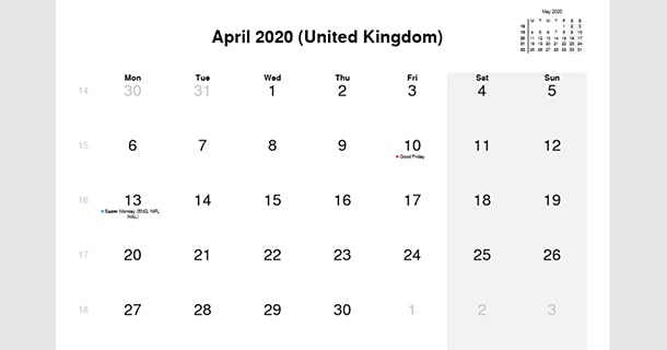 April 2020 Calendar with UK Holidays