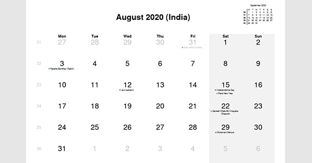August 2020 Calendar with India Holidays
