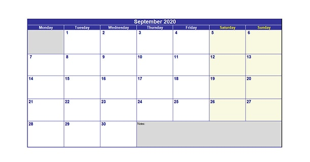 Blank Template September 2020 Calendar Excel