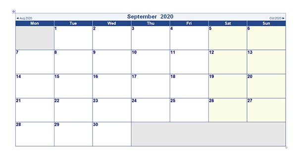 Blank Template September 2020 Calendar Word