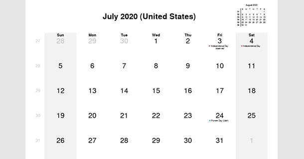 July 2020 Calendar with US Holidays