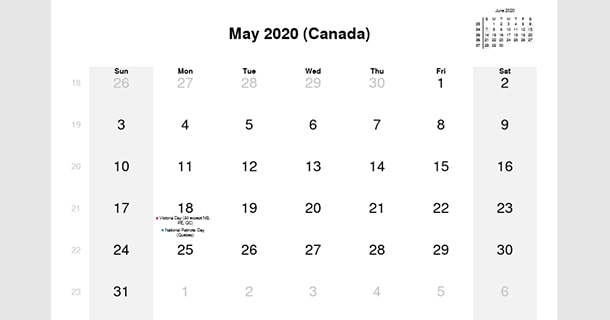 May 2020 Calendar with Canada Holidays