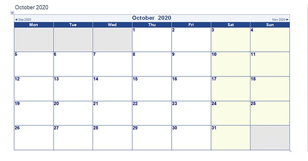 Blank Template October 2020 Calendar Word