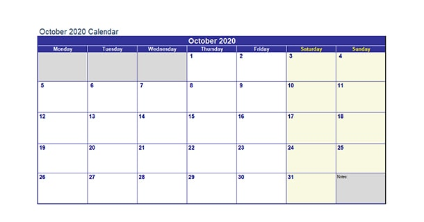 Editable October 2020 Calendar Excel