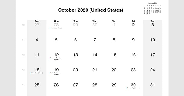 October 2020 Calendar with US Holidays