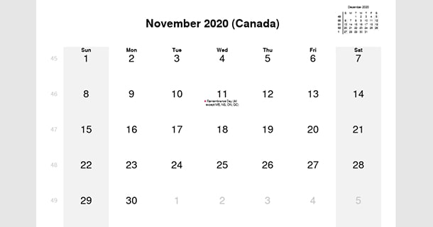 November 2020 Calendar with Canada Holidays