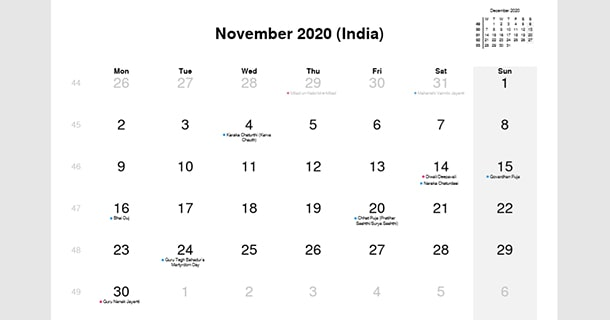 November 2020 Calendar with India Holidays