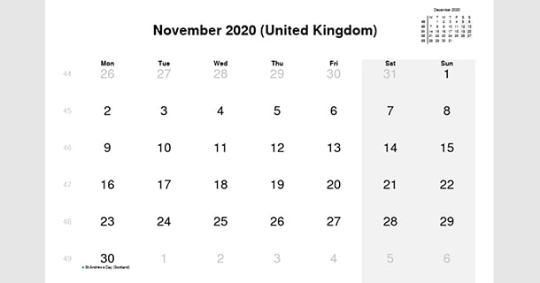 November 2020 Calendar with UK Holidays