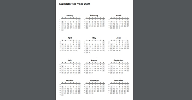 Editable 2021 Full Year Calendar PDF