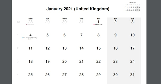 January 2021 Calendar with UK Holidays
