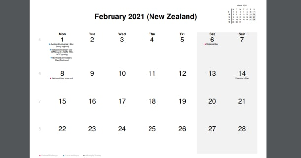 February 2021 Calendar with New Zealand Holidays