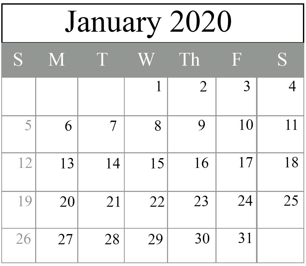 Free Blank January 2020 Calendar Printable in PDF, Word, Excel