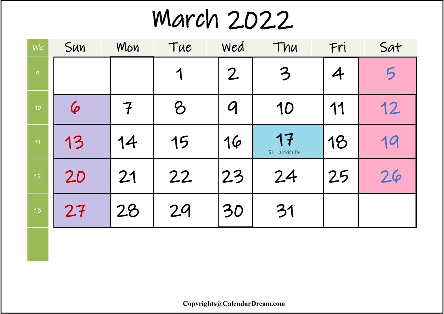 The following are some creative ways to spend yo. Printable March 2022 Calendar With Holidays in PDF Word ...