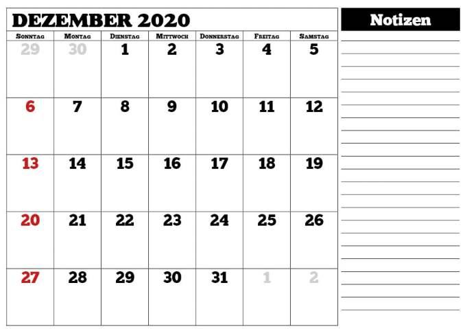 Kalender Dezember 2020 mit Notizen