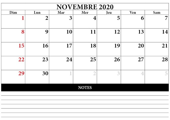 calendrier novembre 2020 à imprimer avec notes