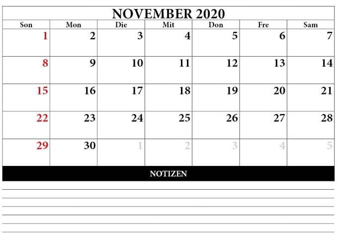 kalender november 2020