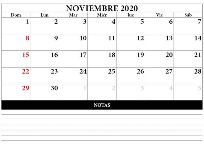 calendario mes noviembre 2020