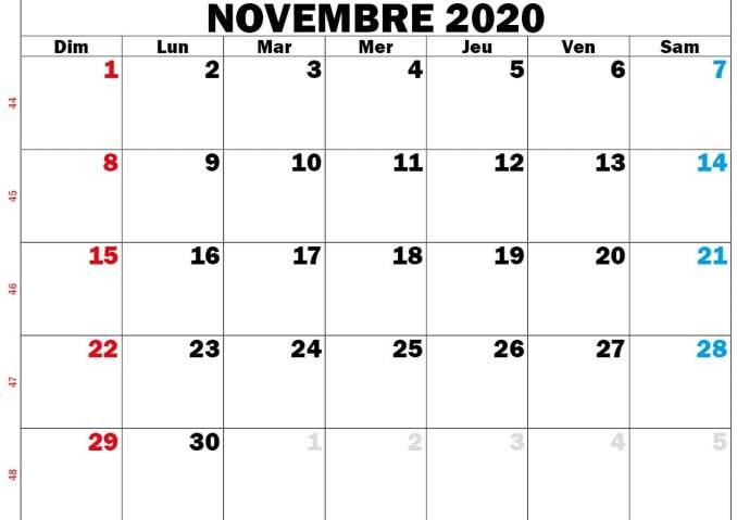 calendrier novembre 2020 rouge