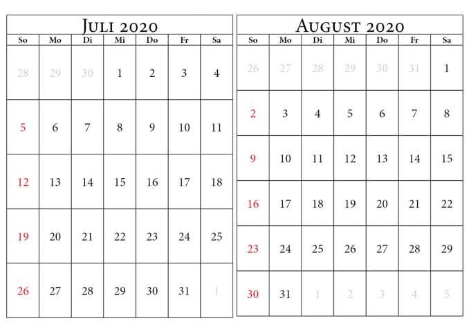 kalender 2020 juli august