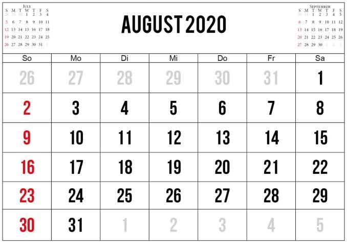 kalender juli august september 2020