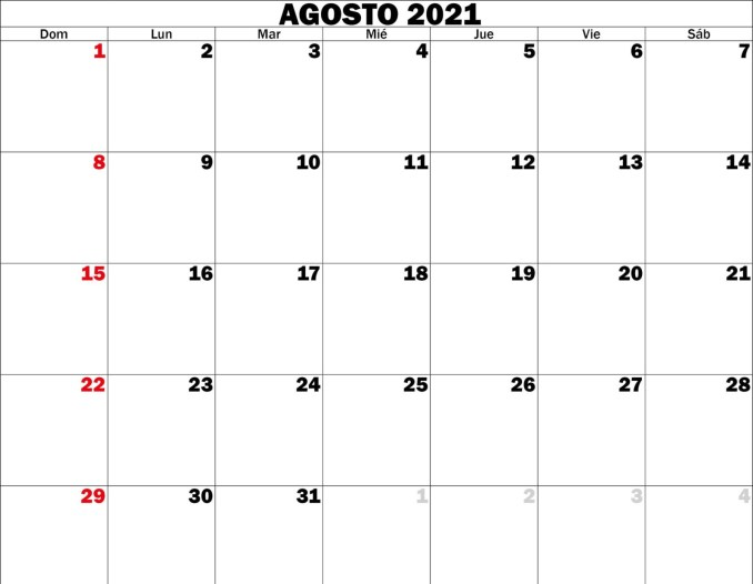 Calendario agosto 2021
