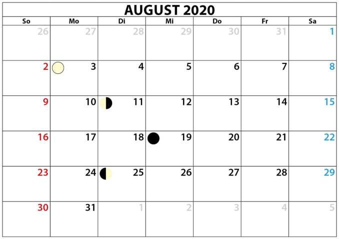 2020 August Calendar Printable PDF