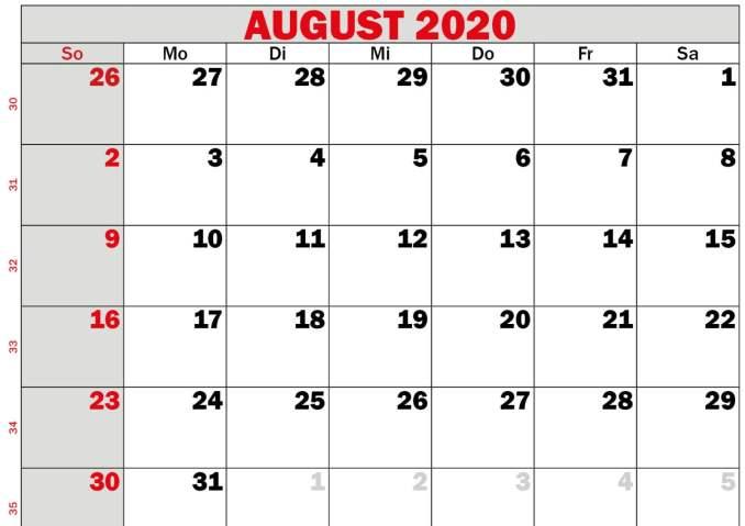 Calendar August 2020 Printable Free