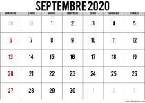 Calendrier septembre 2020 avec jours fériés