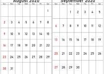 august september 2020 calendar