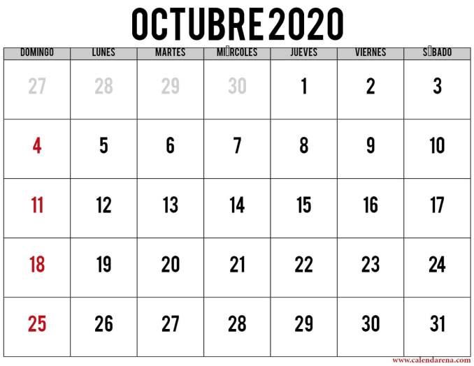 calendario 2020 octubre