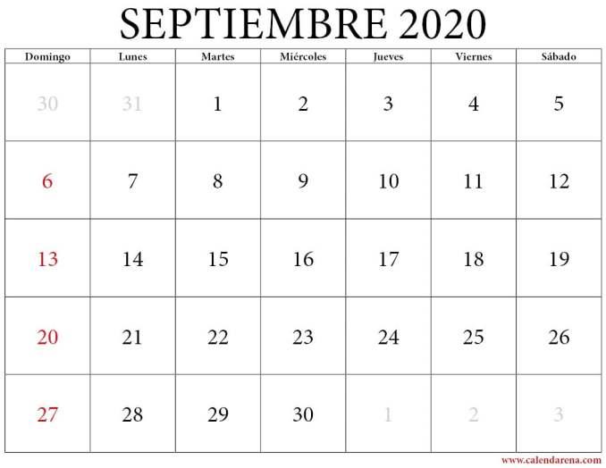 es calendario de septiembre 2020