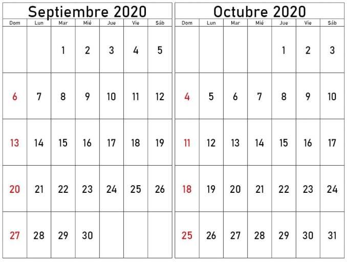 Calendario septiembre y octubre 2020