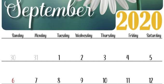 Floral september 2020 calendar