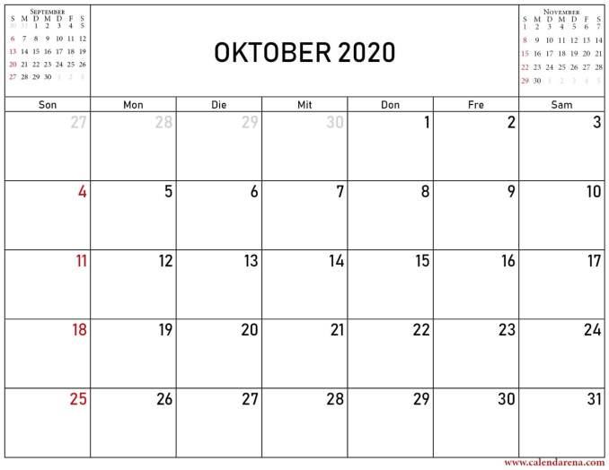 kalender oktober november dezember 2020