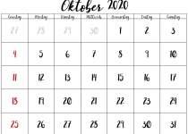 leerer Kalender für Oktober 2020
