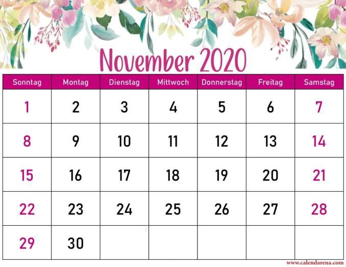 Blumenkalender November 2020