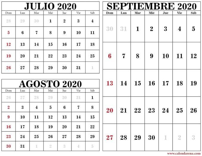 Calendario julio agosto septiembre 2020