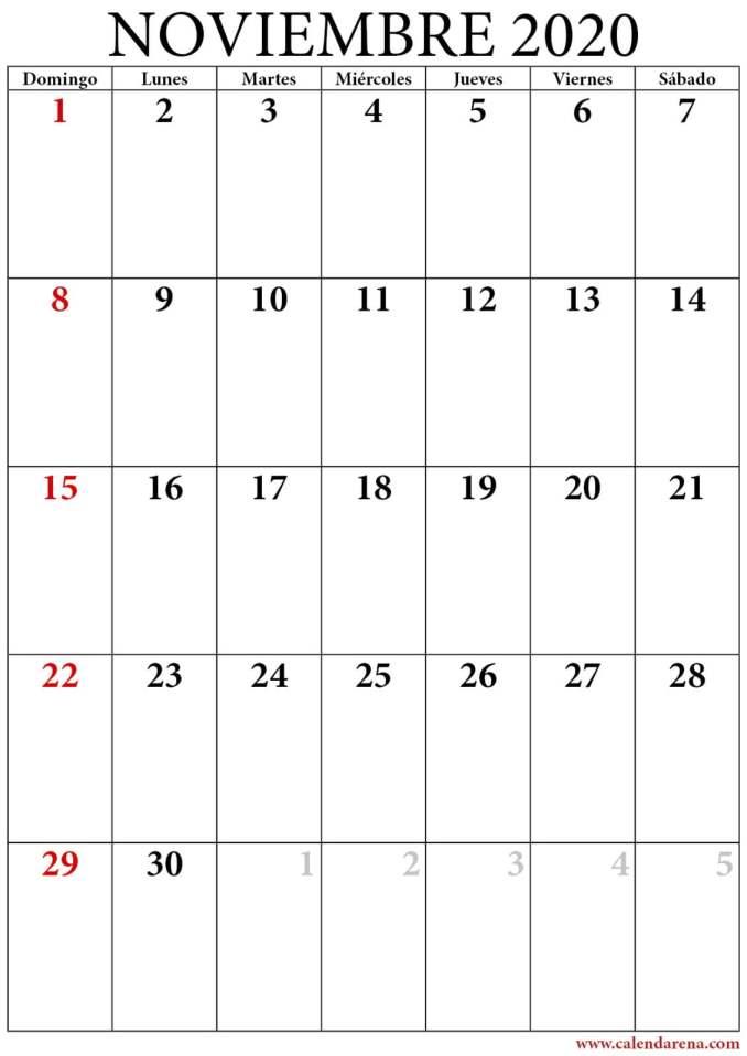calendario 2020 noviembre retrato