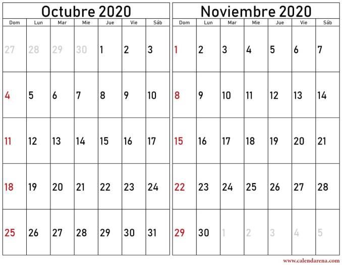 calendario octubre noviembre 2020