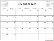 October,november and december 2020 calendar