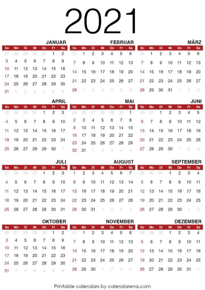 Kalender für 2021 leere Kalendervorlage