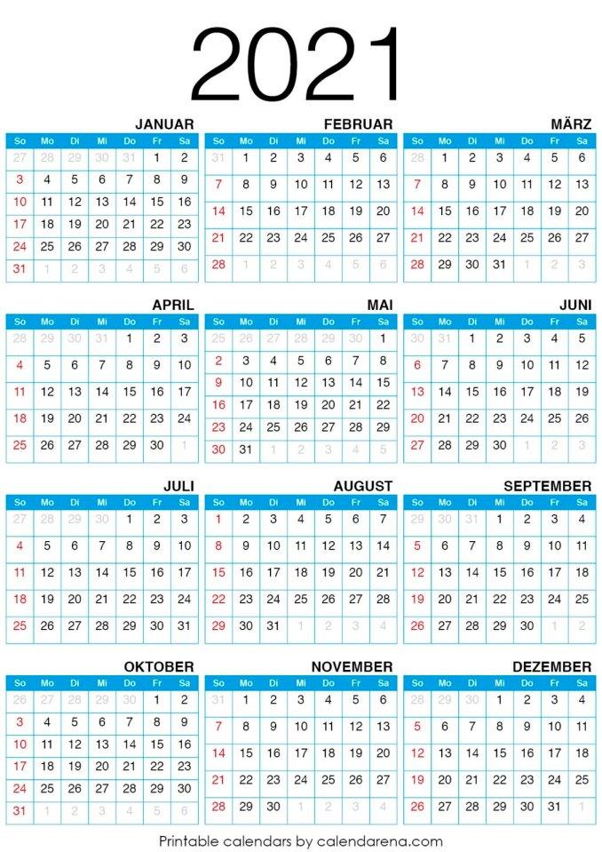 Kalender für 2021 leerer Kalender_2